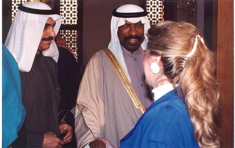 Jean chatting with the Crown Prince of Kuwait in 1991 001