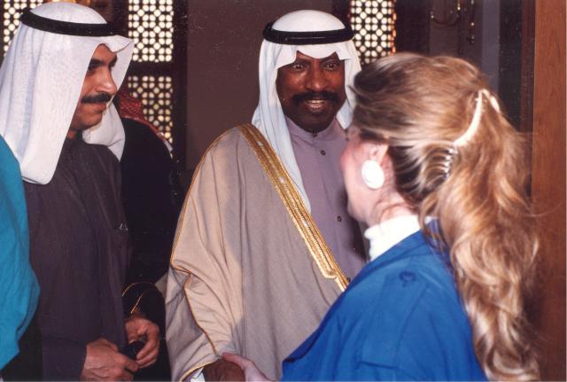 Jean Sasson Kuwait City with Kuwaiti Crown Prince and Ambassador Saud Nasser al-Sabah