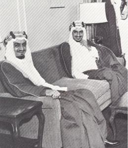 Two men destined to become kings of Saudi Arabia, Faisal and Khalid